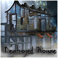 Destroyed House - Extended License Gaming 3D Models RPublishing