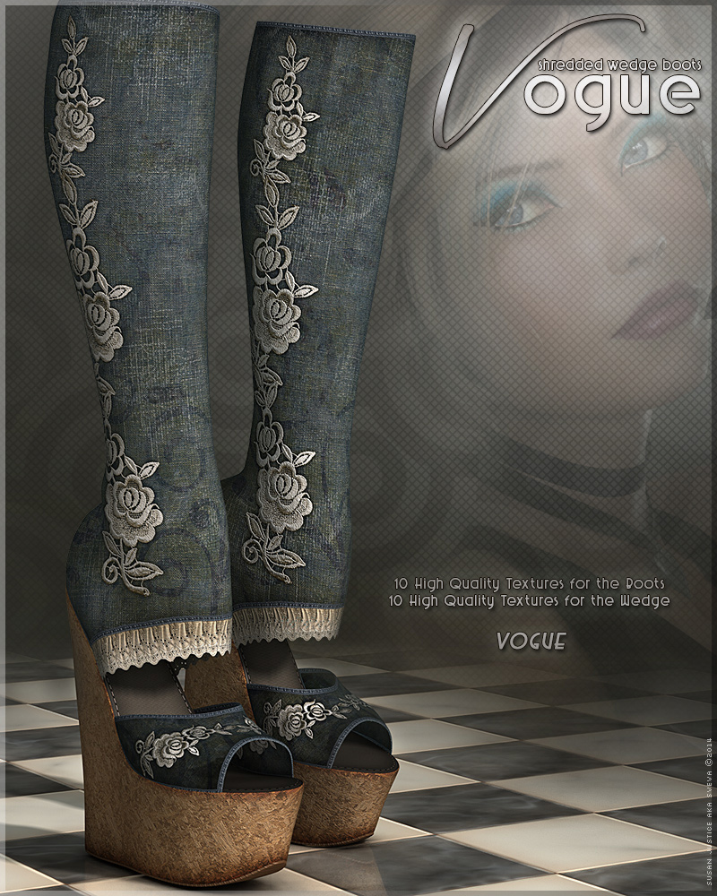 Vogue for Shredded Wedge Boots