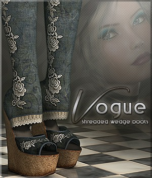 Vogue for Shredded Wedge Boots 3D Figure Essentials Sveva