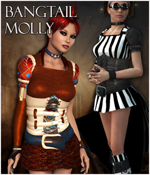 Bangtail Molly for V4 3D Figure Assets 3D Models RPublishing