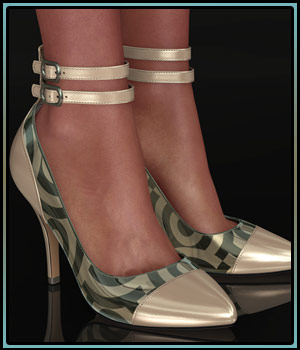 Shoe-Coleration for Ankle Strap Pumps 3D Figure Assets boundless