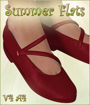 Summer Flats for V4 A4 3D Figure Assets Mirabilis