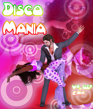 Disco Mania for V4, M4 & G2F 3D Figure Essentials 2D lunchlady
