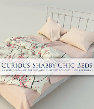 Curious Shabby Chic Bed for Vue 3D Models Software curious3d