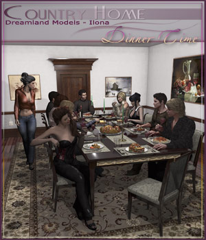 Country Home, Dinner Time 3D Figure Essentials 3D Models DreamlandModels