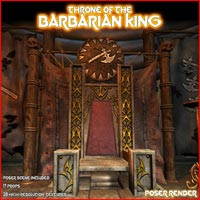 Throne of the Barbarian King - Extended License 3D Models Gaming LukeA
