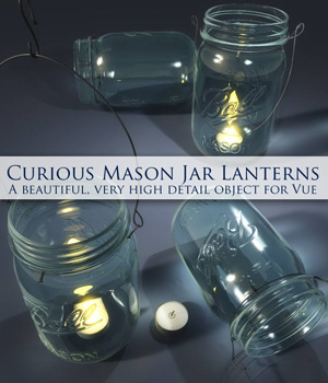 Curious Mason Jar Lantern for Vue Software 3D Models curious3d