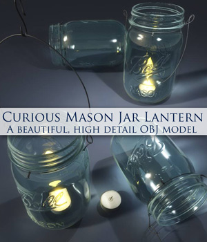 Curious Mason Jar Lantern OBJ by curious3d