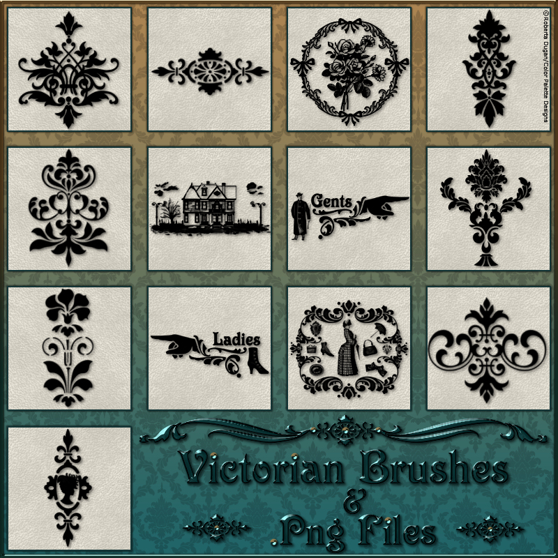 VICTORIAN Brushes & Png Files Pack by fractalartist01