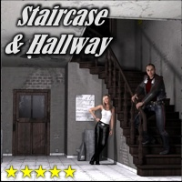 Staircase & Hallway - Extended License 3D Figure Assets 3D Models Extended Licenses 3-d-c