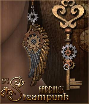 SV's Steampunk Earrings - Extended License 3D Figure Assets Extended Licenses Sveva
