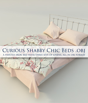 Curious Shabby Chic Beds OBJ by curious3d