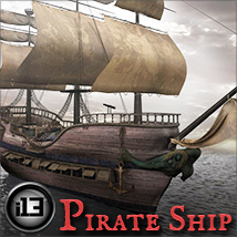 i13 Pirate Ship - Extended License 3D Models Gaming ironman13