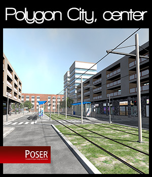 Polygon City, the City Center - Extended License 3D Models Gaming 2nd_World