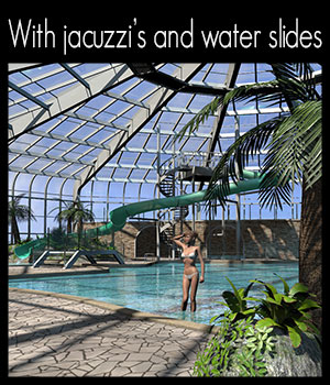 Tropical indoor public pool - Extended License 3D Models Gaming 2nd_World