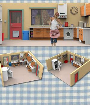 Sally`s Kitchen (for Poser) 3D Models VanishingPoint