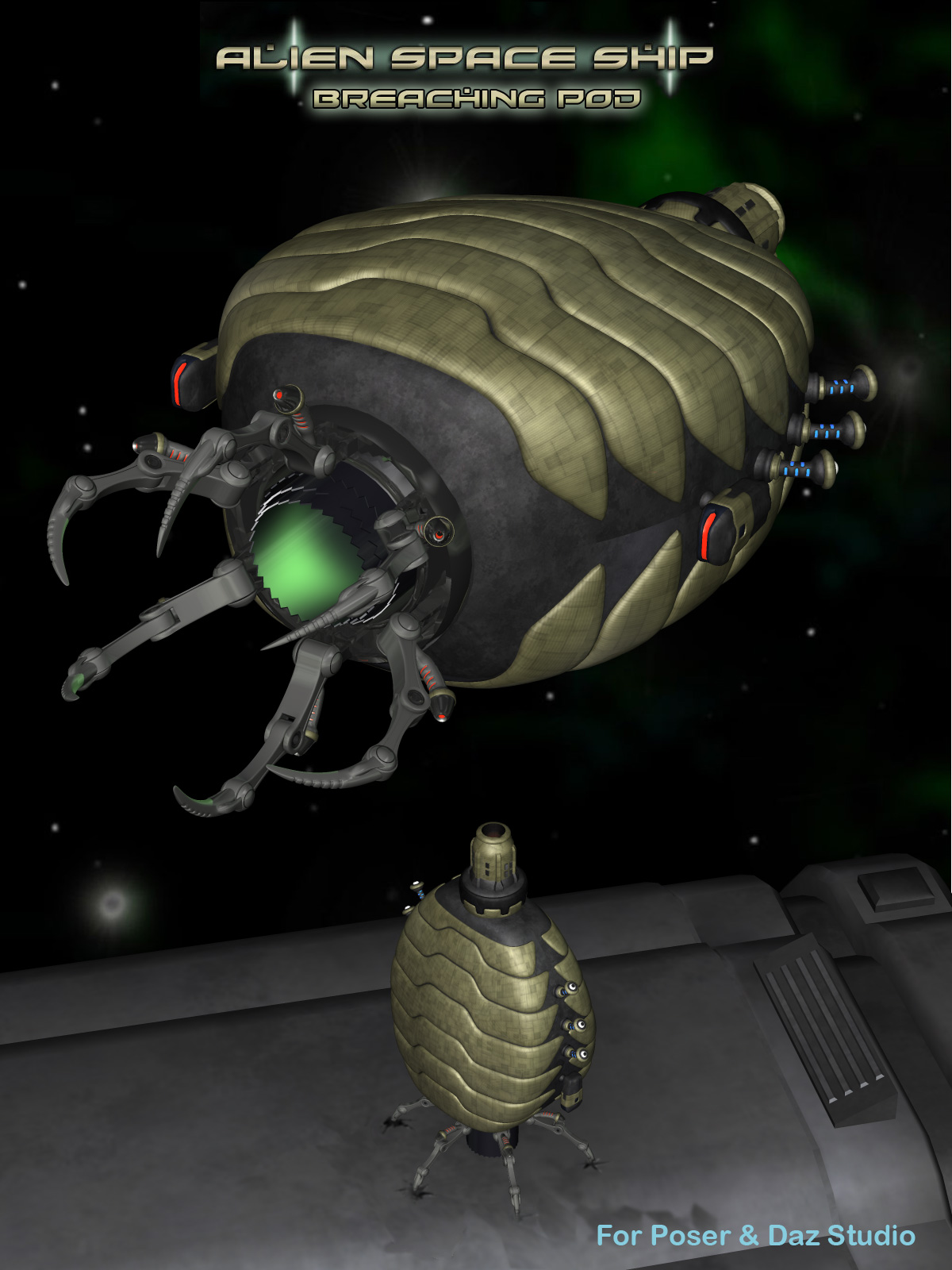 3d Models For Poser And Daz Studio: Alien Breaching Pod 3D Models Simon-3D