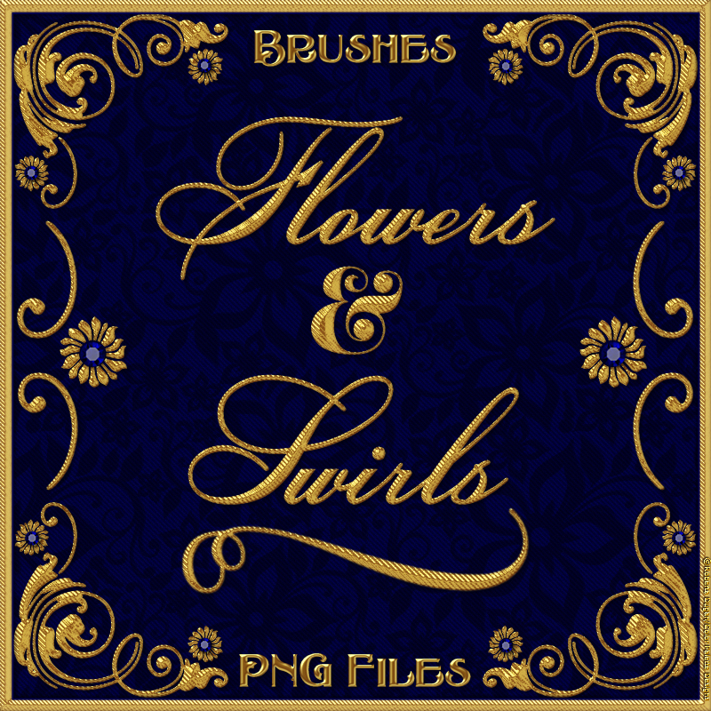 Flowers & Swirls Brushes and PNG Files Pack