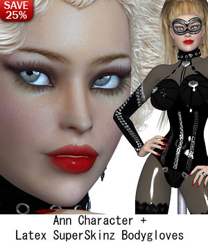 B#1 Bodacious Ann, Latex Pole Dancer 3D Figure Assets lululee