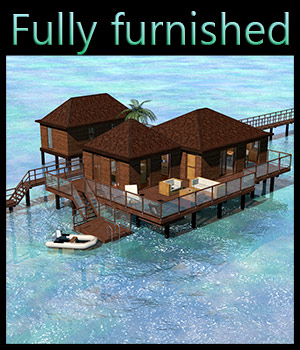 Tropical Villa, Bora Bora - Extended License 3D Models Gaming 2nd_World