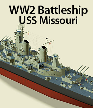 WW2 Battleship - Extended License 3D Models Extended Licenses RPublishing