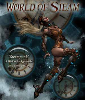 World of Steam - Steampunk Backgrounds 2D Graphics Kachinadoll
