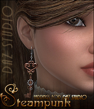 SVLF Steampunk Earrings DAZ Studio 3D Figure Essentials Sveva