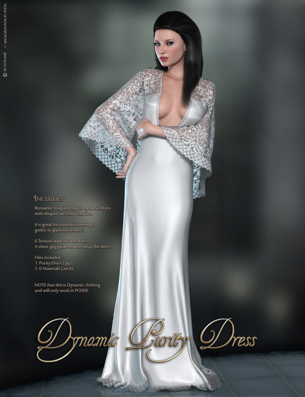 Dynamic Purity Dress 3D Figure Assets lilflame