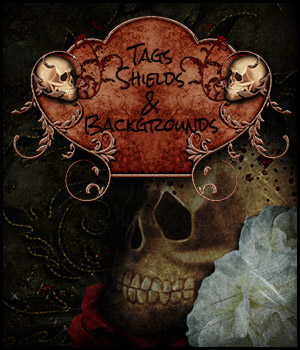 Halloween - Tags/shields and Backgrounds 2D antje