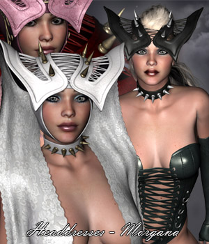 Headdresses - Morgana V4, A4, G4 3D Figure Assets 3D Models RPublishing