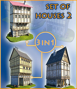 Set of houses 2 3D Models 1971s
