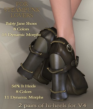 Steam-Punk It Heels V4 3D Figure Assets nirvy