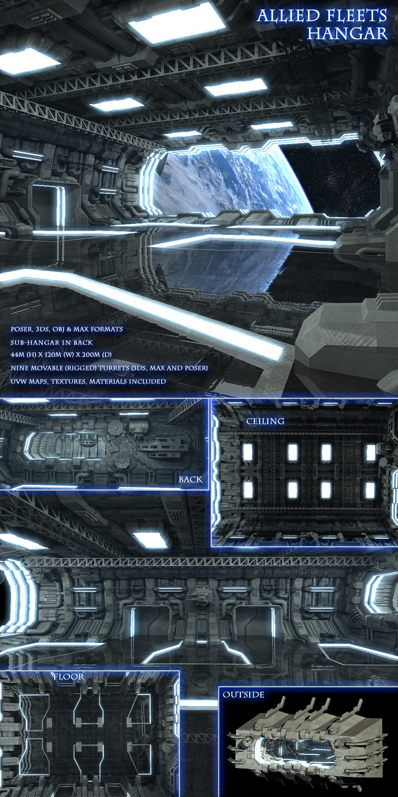 Allied Fleets Hangar - Poser,OBJ,3DS,MAX - Extended License
