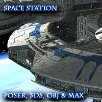 Allied Fleets Research Station - Poser,OBJ,3DS,MAX - Extended License 3D Models Simon-3D