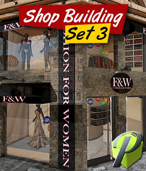 Shop Building Set 3 3D Models powerage
