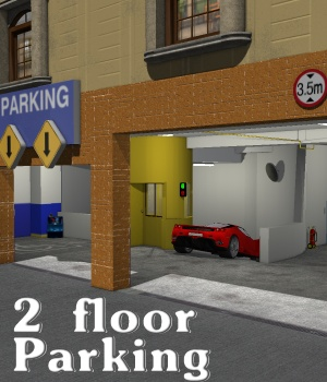 SCHOOL 2floor Parking - Extended License 3D Models greenpots