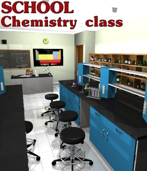 School Chemistry class - Extended License 3D Models greenpots