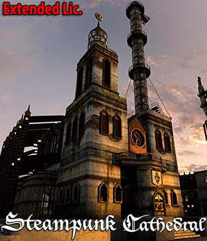 Steampunk Cathedral - Extended License 3D Models Cybertenko