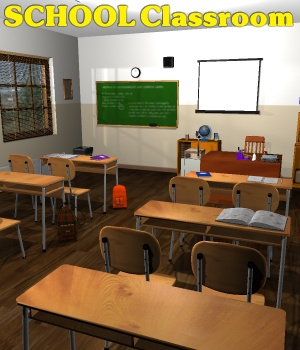 School classroom - Extended License 3D Figure Assets 3D Models Extended Licenses greenpots