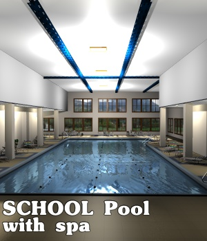 SCHOOL Pool with spa - Extended License 3D Figure Assets 3D Models Extended Licenses greenpots