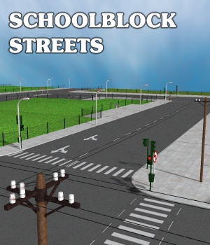 Schoolblock Streets - Extended License 3D Models Gaming greenpots