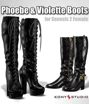 Phoebe & Violette Boots for G2f 3D Figure Essentials kony