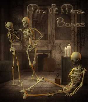 Mr. & Mrs. Bones For Poser Skeleton 3D Figure Essentials -dragonfly3d-