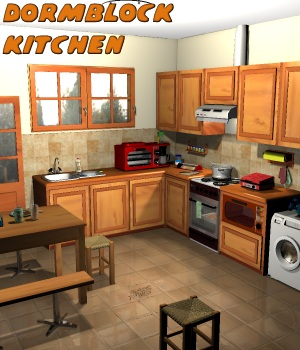 Dormblock - Kitchen - Extended License 3D Figure Assets 3D Models Extended Licenses greenpots