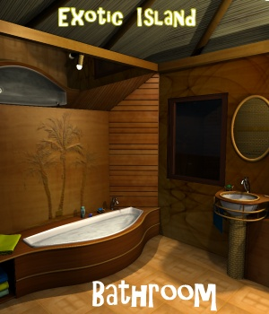 Exotic island - Bathroom - Extended License Gaming 3D Figure Essentials 3D Models greenpots