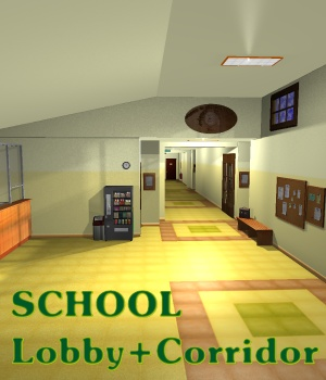 SCHOOL Lobby+corridor - Extended License 3D Models Gaming greenpots