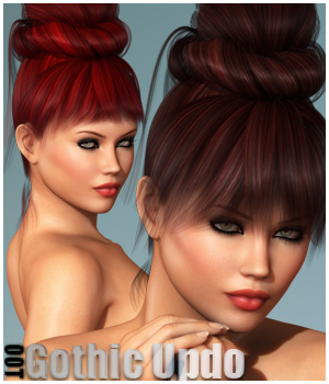 Gothic Updo Hair + OOT Hairblending 3D Figure Assets outoftouch