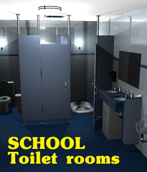School Toilet Rooms - Extended License 3D Figure Assets 3D Models Extended Licenses greenpots