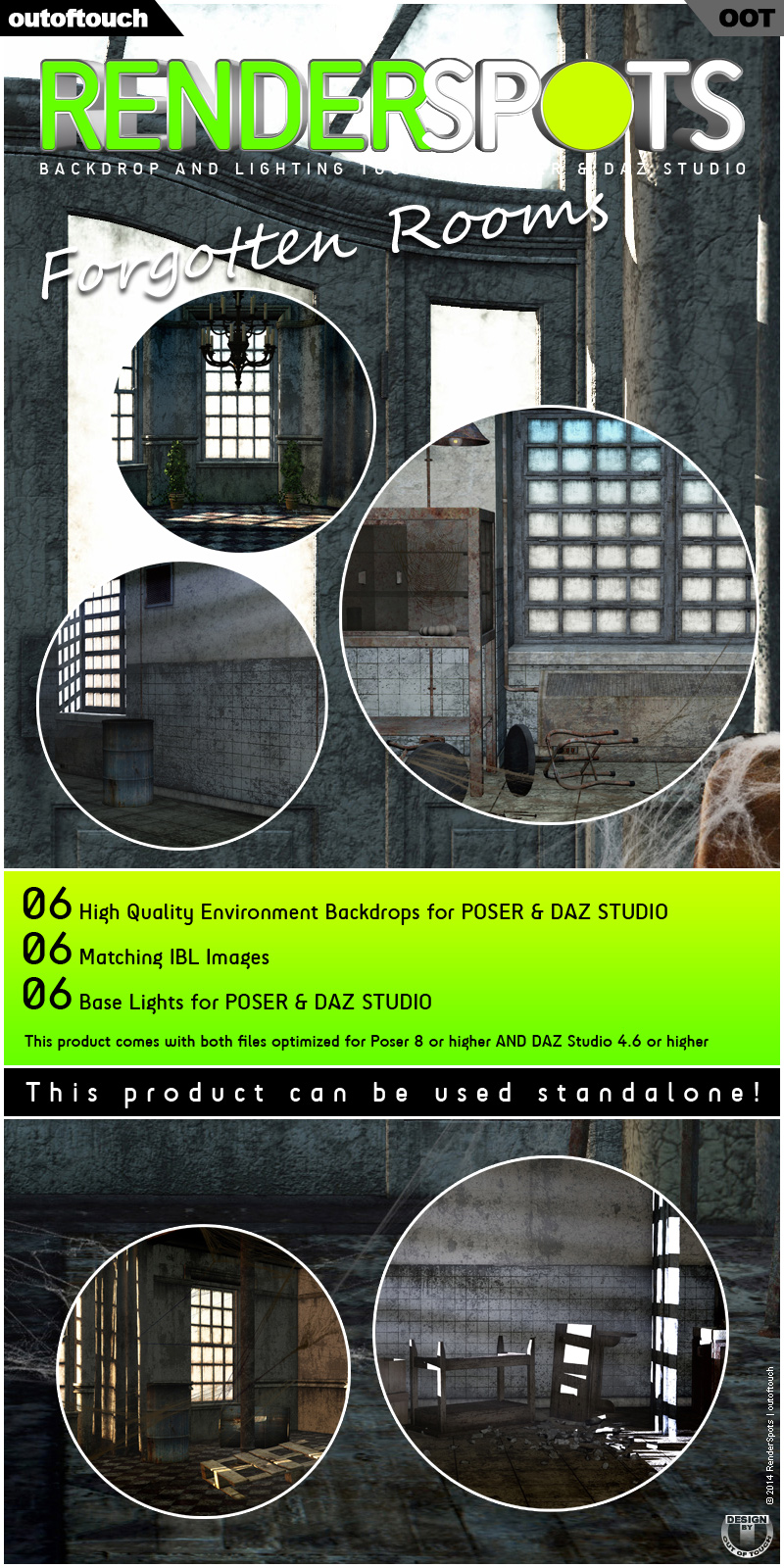 RenderSpots Forgotten Rooms for Poser and DAZ Studio by outoftouch