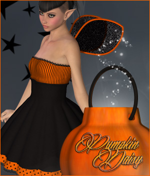 Pumpkin Daisy - V4 Outfit 3D Figure Essentials 3D Models P3D-Art